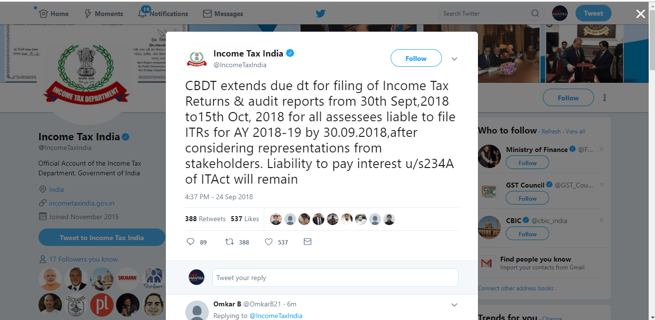 Income Tax Return filing due date extended to October 15th 2018